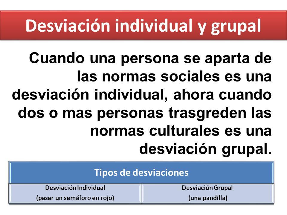 Desviación individual y grupal Cuando una persona se aparta de las normas sociales es una desviación individual, ahora cuando dos o mas personas trasg