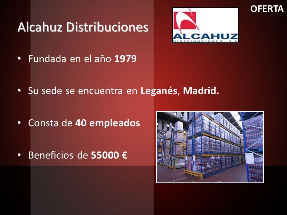 Alcahuz Distribuciones Fundada en el año 1979 Su sede se encuentra en Leganés, Madrid. Consta de 40 empleados Beneficios de 55000 OFERTA