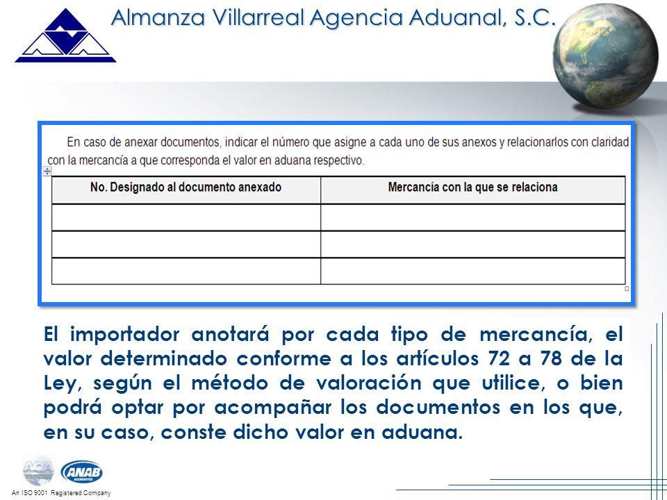 An ISO 9001 Registered Company El importador anotará por cada tipo de mercancía, el valor determinado conforme a los artículos 72 a 78 de la Ley, segú