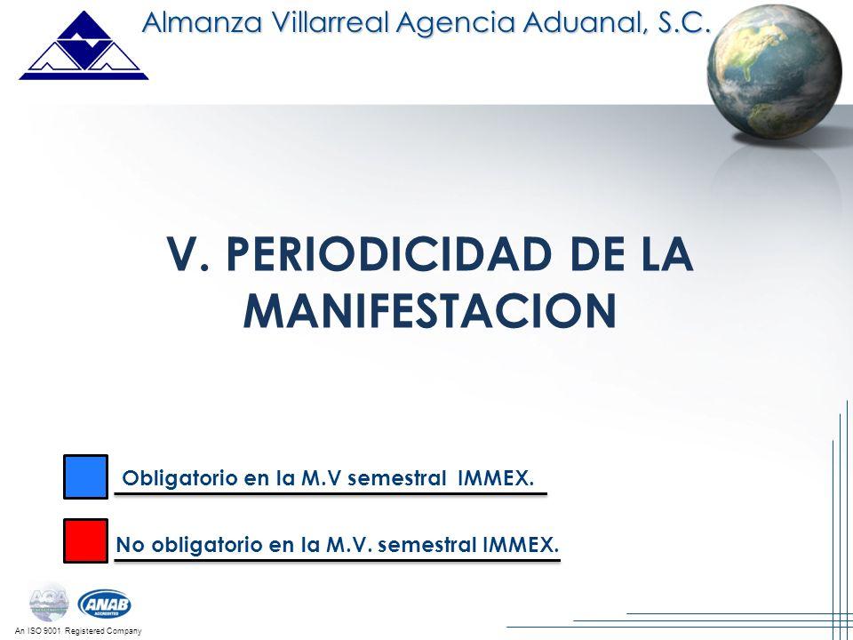 An ISO 9001 Registered Company V. PERIODICIDAD DE LA MANIFESTACION Almanza Villarreal Agencia Aduanal, S.C. Obligatorio en la M.V semestral IMMEX. No
