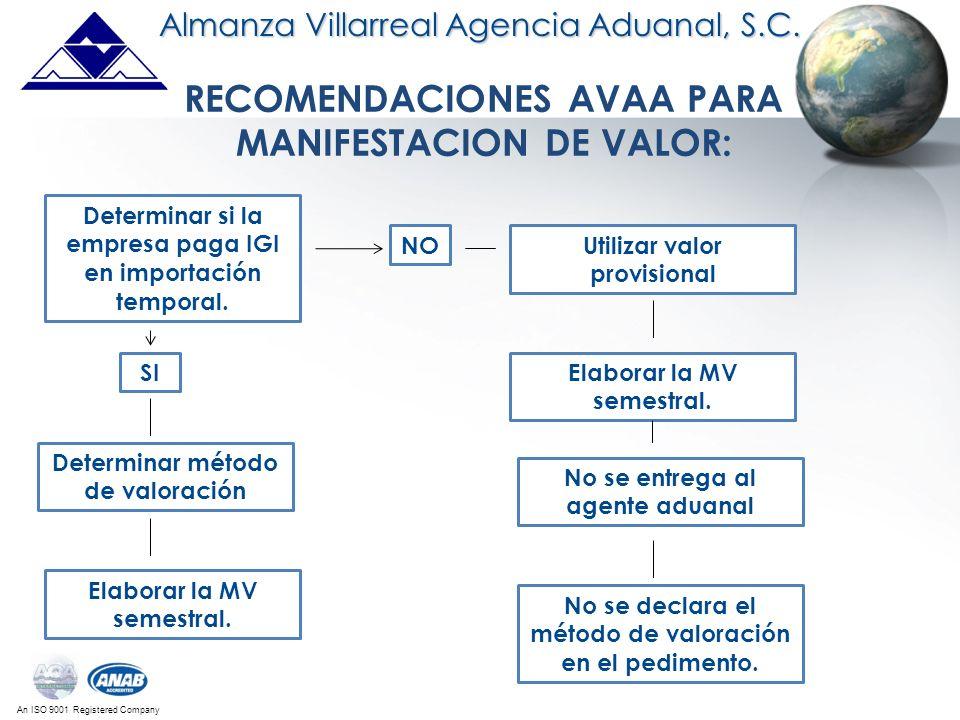 An ISO 9001 Registered Company RECOMENDACIONES AVAA PARA MANIFESTACION DE VALOR: Almanza Villarreal Agencia Aduanal, S.C. Determinar si la empresa pag