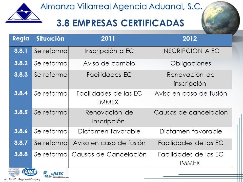 An ISO 9001 Registered Company 3.8 EMPRESAS CERTIFICADAS Almanza Villarreal Agencia Aduanal, S.C. Regla Situación20112012 3.8.1 Se reforma Inscripción