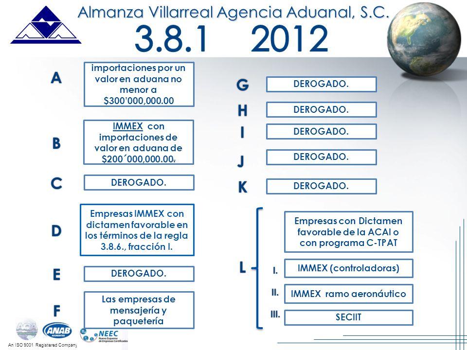 An ISO 9001 Registered Company Empresas con Dictamen favorable de la ACAI o con programa C-TPAT IMMEX (controladoras) IMMEX ramo aeronáutico B C L I.