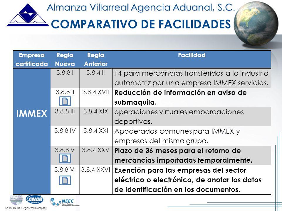 An ISO 9001 Registered Company Almanza Villarreal Agencia Aduanal, S.C. Empresa certificada Regla Nueva Regla Anterior Facilidad IMMEX 3.8.8 I3.8.4 II