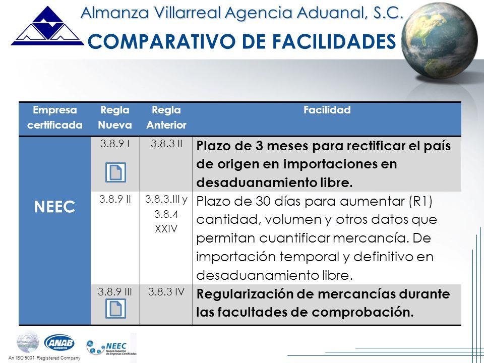 An ISO 9001 Registered Company Almanza Villarreal Agencia Aduanal, S.C. Empresa certificada Regla Nueva Regla Anterior Facilidad NEEC 3.8.9 I3.8.3 II