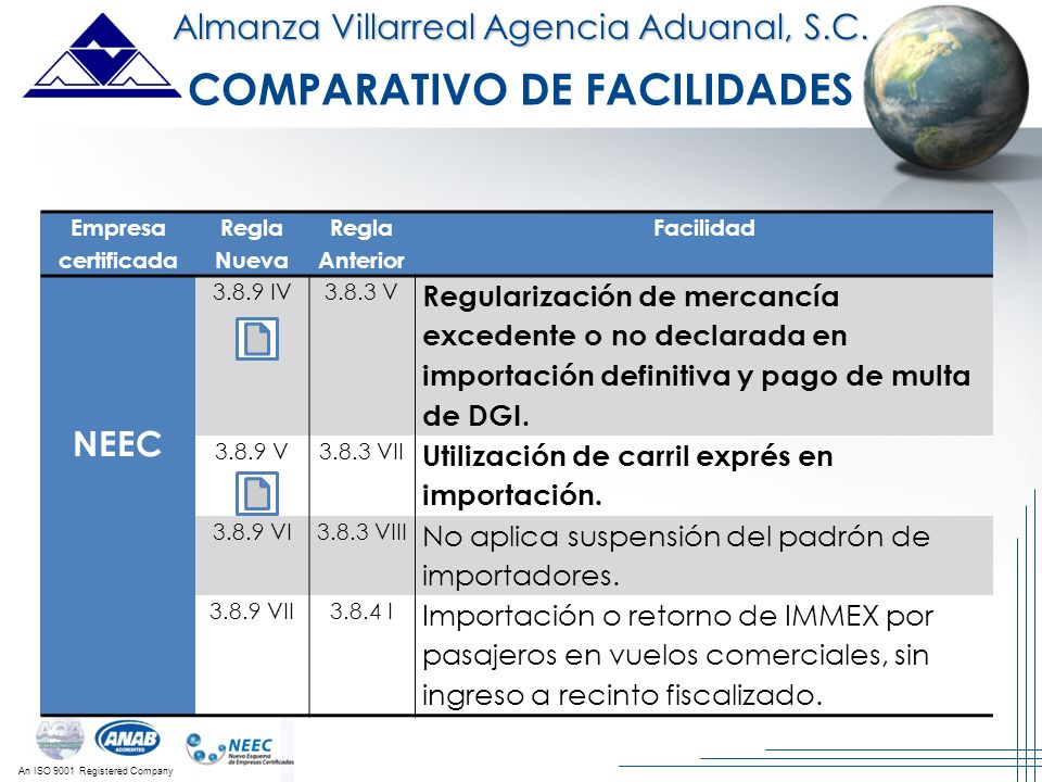 An ISO 9001 Registered Company Almanza Villarreal Agencia Aduanal, S.C. Empresa certificada Regla Nueva Regla Anterior Facilidad NEEC 3.8.9 IV3.8.3 V