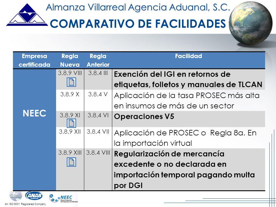 An ISO 9001 Registered Company Almanza Villarreal Agencia Aduanal, S.C. Empresa certificada Regla Nueva Regla Anterior Facilidad NEEC 3.8.9 VIII3.8.4