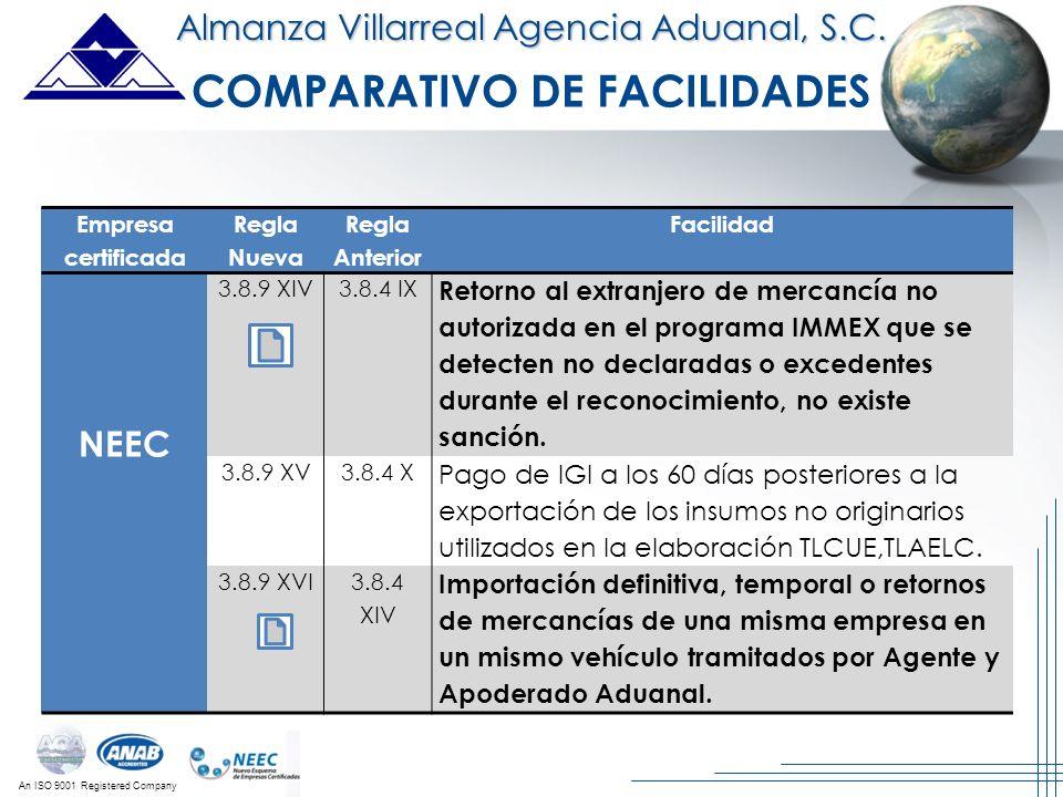 An ISO 9001 Registered Company Almanza Villarreal Agencia Aduanal, S.C. Empresa certificada Regla Nueva Regla Anterior Facilidad NEEC 3.8.9 XIV3.8.4 I