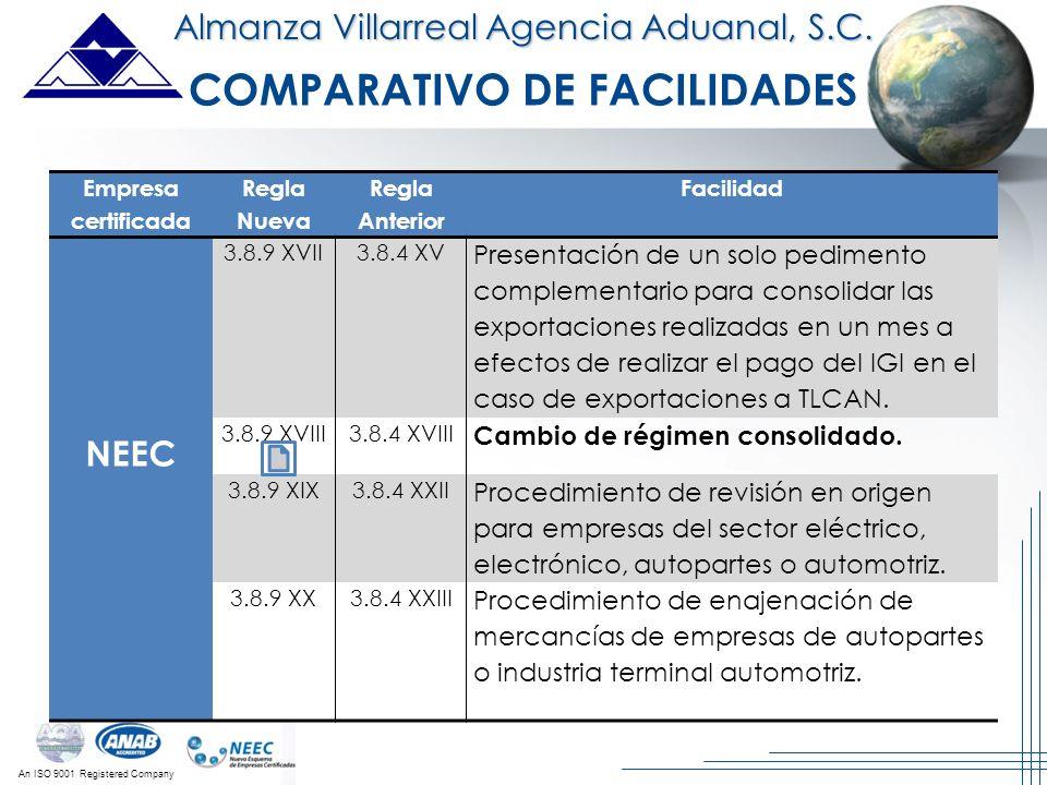 An ISO 9001 Registered Company Almanza Villarreal Agencia Aduanal, S.C. Empresa certificada Regla Nueva Regla Anterior Facilidad NEEC 3.8.9 XVII3.8.4