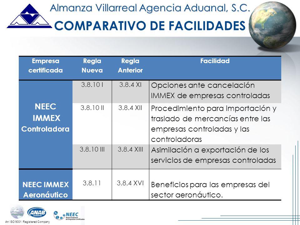 An ISO 9001 Registered Company Almanza Villarreal Agencia Aduanal, S.C. Empresa certificada Regla Nueva Regla Anterior Facilidad NEEC IMMEX Controlado