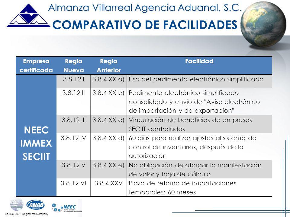 An ISO 9001 Registered Company Almanza Villarreal Agencia Aduanal, S.C. Empresa certificada Regla Nueva Regla Anterior Facilidad NEEC IMMEX SECIIT 3.8