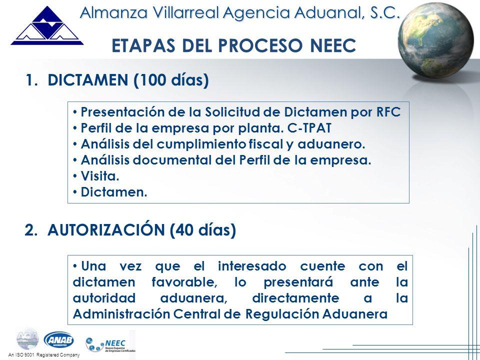 An ISO 9001 Registered Company ETAPAS DEL PROCESO NEEC 1. DICTAMEN (100 días) 2. AUTORIZACIÓN (40 días) Presentación de la Solicitud de Dictamen por R