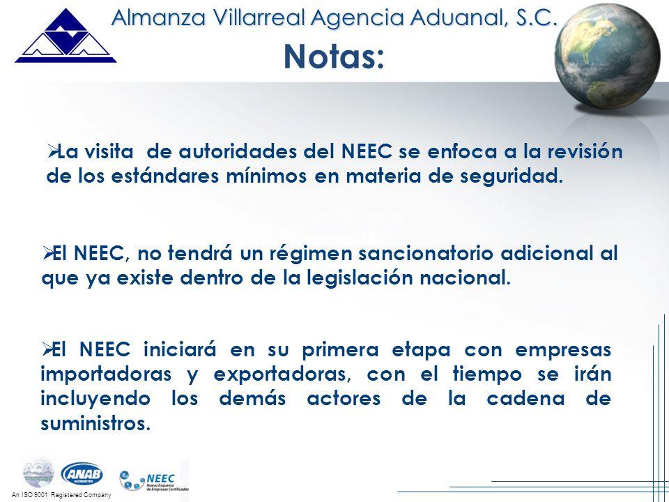 An ISO 9001 Registered Company Almanza Villarreal Agencia Aduanal, S.C. La visita de autoridades del NEEC se enfoca a la revisión de los estándares mí