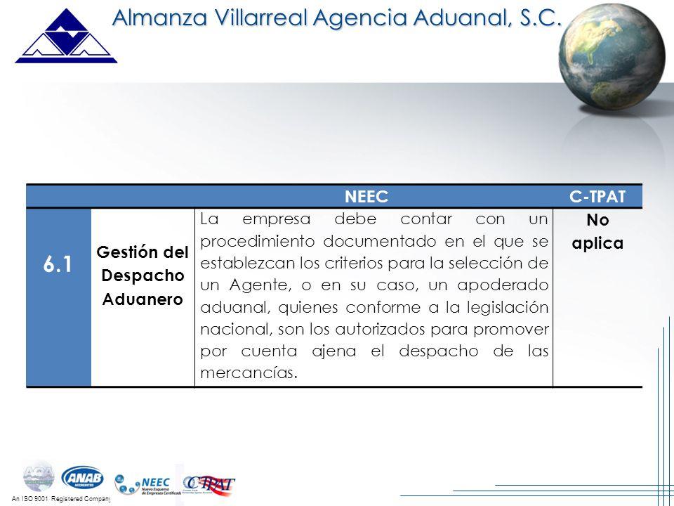 An ISO 9001 Registered Company Almanza Villarreal Agencia Aduanal, S.C. NEECC-TPAT 6.1 Gestión del Despacho Aduanero La empresa debe contar con un pro