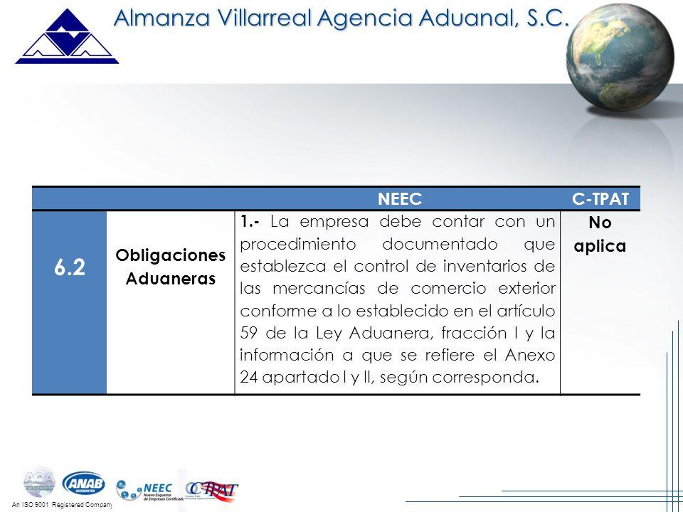 An ISO 9001 Registered Company Almanza Villarreal Agencia Aduanal, S.C. NEECC-TPAT 6.2 Obligaciones Aduaneras 1.- La empresa debe contar con un proced
