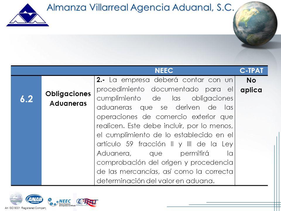 An ISO 9001 Registered Company Almanza Villarreal Agencia Aduanal, S.C. NEECC-TPAT 6.2 Obligaciones Aduaneras 2.- La empresa deberá contar con un proc