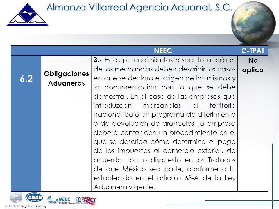 An ISO 9001 Registered Company Almanza Villarreal Agencia Aduanal, S.C. NEECC-TPAT 6.2 Obligaciones Aduaneras 3.- Estos procedimientos respecto al ori