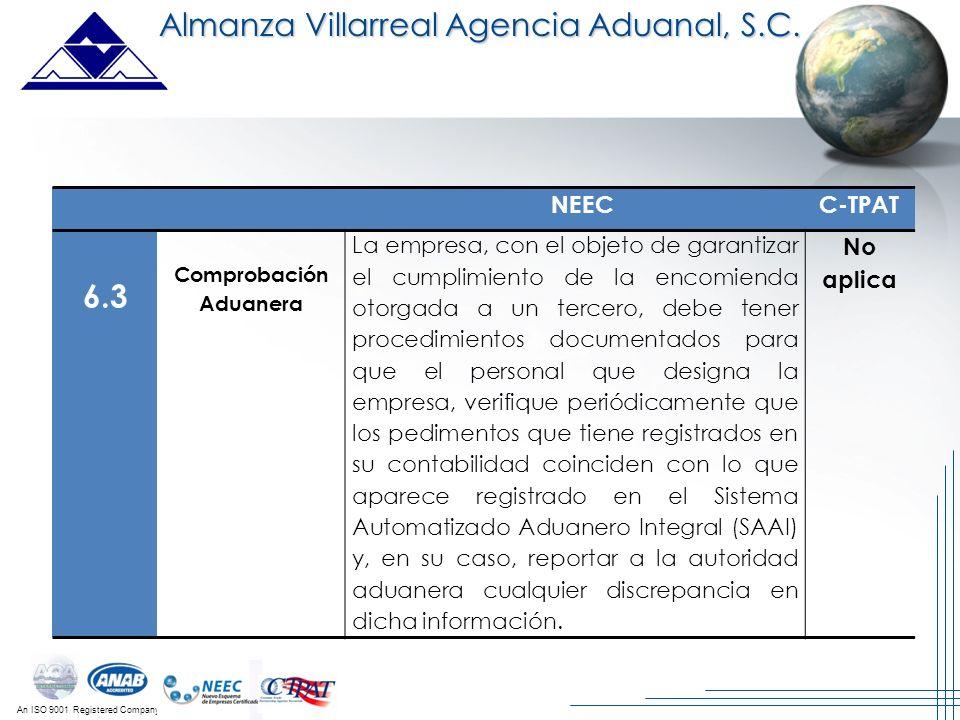 An ISO 9001 Registered Company Almanza Villarreal Agencia Aduanal, S.C. NEECC-TPAT 6.3 Comprobación Aduanera La empresa, con el objeto de garantizar e