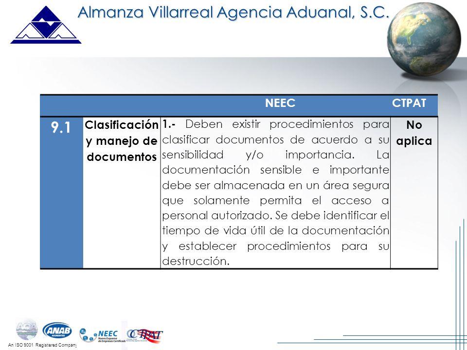 An ISO 9001 Registered Company Almanza Villarreal Agencia Aduanal, S.C. NEECCTPAT 9.1 Clasificación y manejo de documentos 1.- Deben existir procedimi