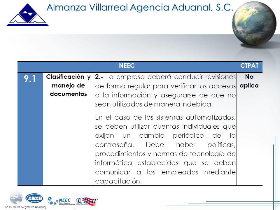 An ISO 9001 Registered Company Almanza Villarreal Agencia Aduanal, S.C. NEECCTPAT 9.1 Clasificación y manejo de documentos 2.- La empresa deberá condu