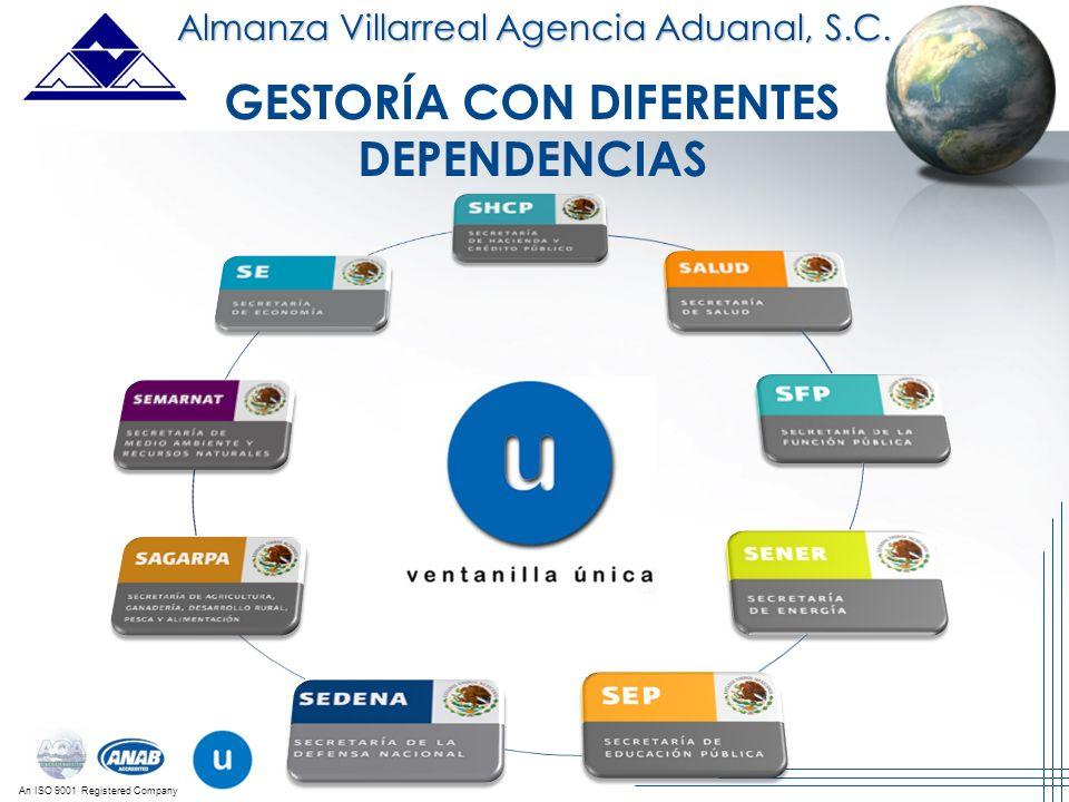 An ISO 9001 Registered Company Almanza Villarreal Agencia Aduanal, S.C. GESTORÍA CON DIFERENTES DEPENDENCIAS