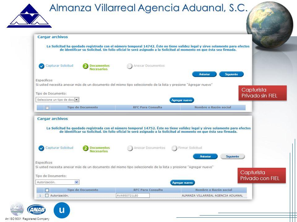 An ISO 9001 Registered Company Almanza Villarreal Agencia Aduanal, S.C. Capturista Privado sin FIEL Capturista Privado con FIEL