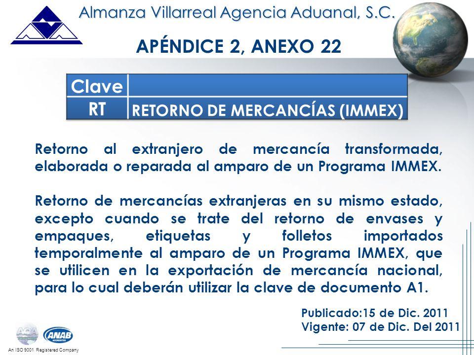 An ISO 9001 Registered Company Almanza Villarreal Agencia Aduanal, S.C. Retorno al extranjero de mercancía transformada, elaborada o reparada al ampar