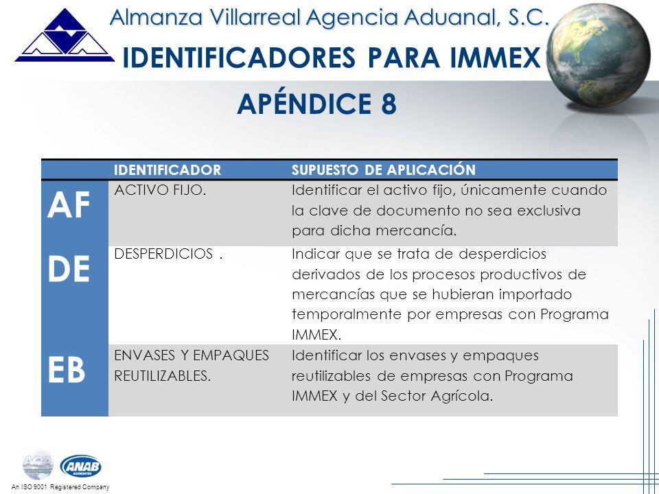 An ISO 9001 Registered Company Almanza Villarreal Agencia Aduanal, S.C. IDENTIFICADORES PARA IMMEX IDENTIFICADORSUPUESTO DE APLICACIÓN AF ACTIVO FIJO.