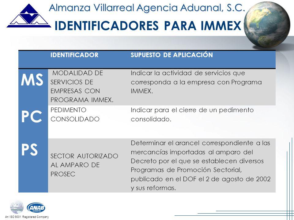 An ISO 9001 Registered Company Almanza Villarreal Agencia Aduanal, S.C. IDENTIFICADORSUPUESTO DE APLICACIÓN MS MODALIDAD DE SERVICIOS DE EMPRESAS CON