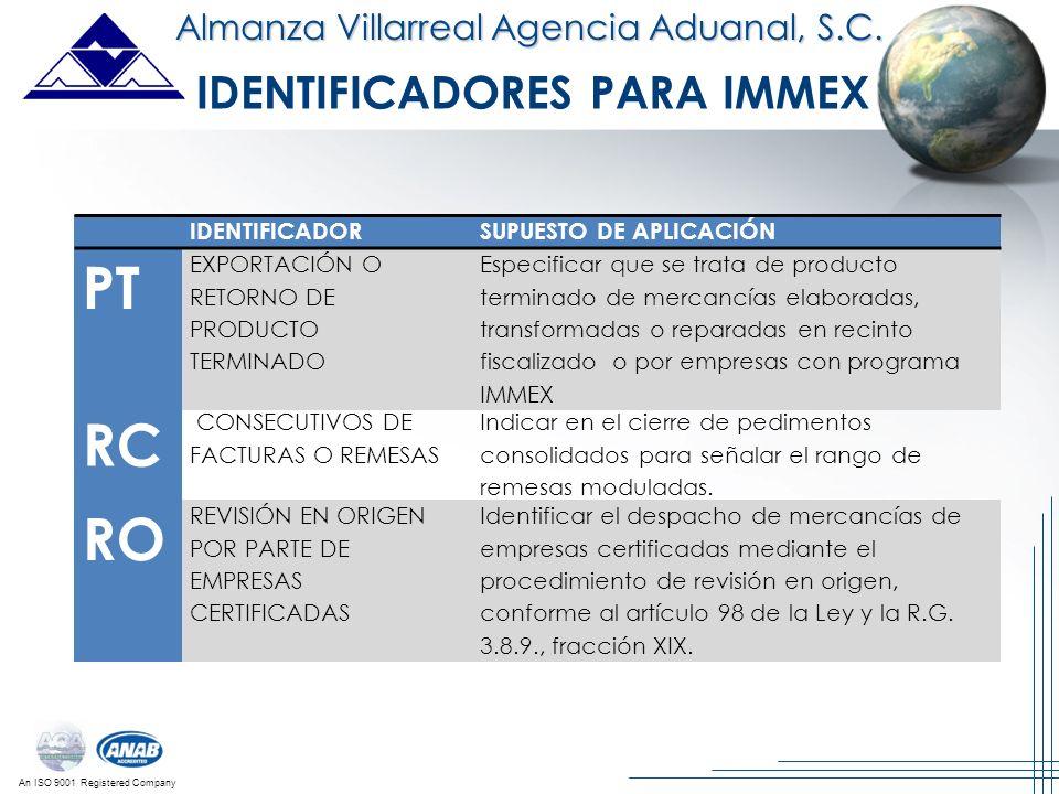 An ISO 9001 Registered Company Almanza Villarreal Agencia Aduanal, S.C. IDENTIFICADORSUPUESTO DE APLICACIÓN PT EXPORTACIÓN O RETORNO DE PRODUCTO TERMI