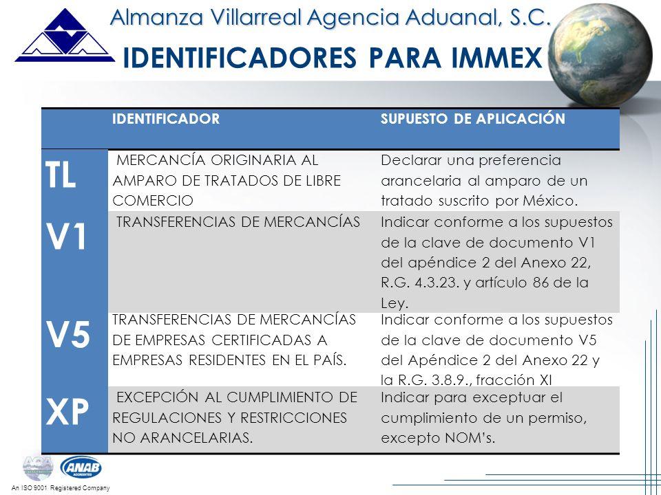 An ISO 9001 Registered Company Almanza Villarreal Agencia Aduanal, S.C. V1 TRANSFERENCIAS DE MERCANCÍASIndicar conforme a los supuestos de la clave de