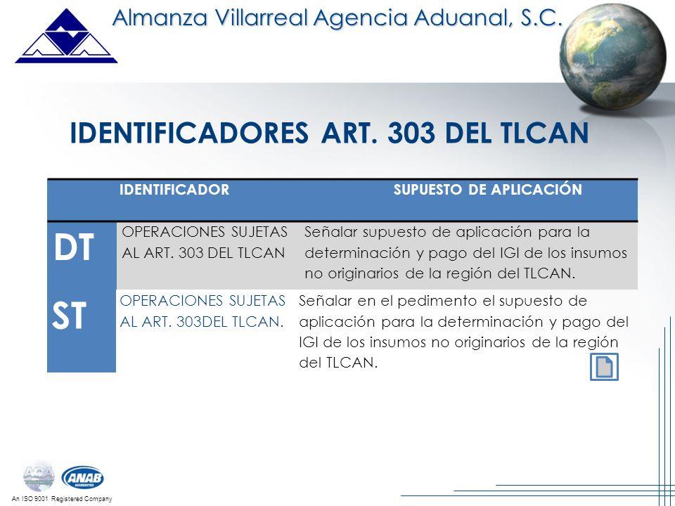 An ISO 9001 Registered Company DT OPERACIONES SUJETAS AL ART. 303 DEL TLCAN Señalar supuesto de aplicación para la determinación y pago del IGI de los