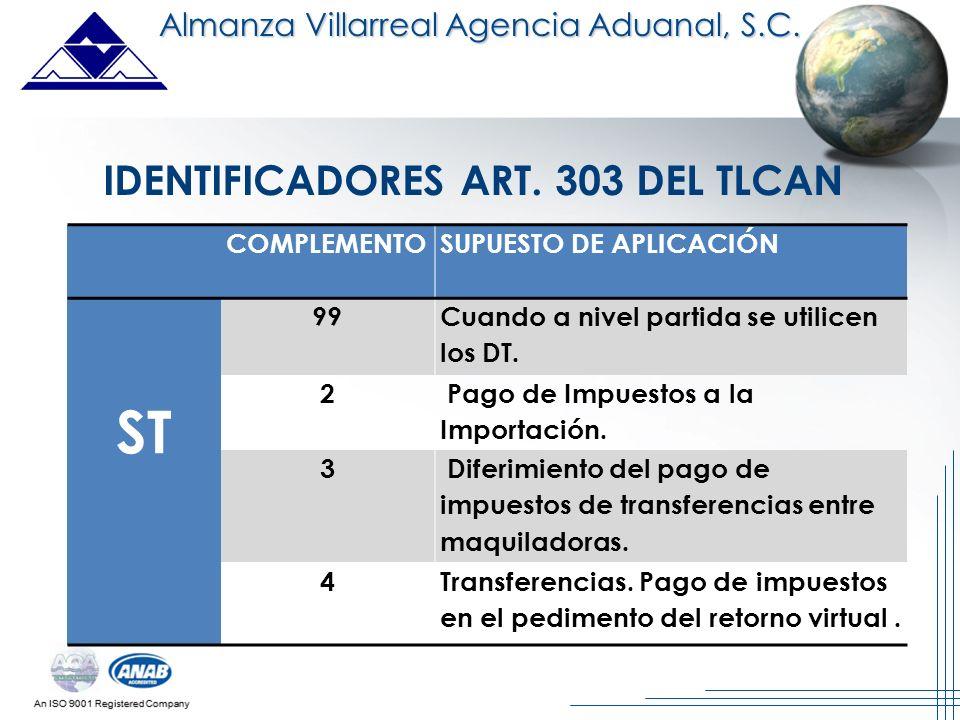 An ISO 9001 Registered Company Almanza Villarreal Agencia Aduanal, S.C. IDENTIFICADORES ART. 303 DEL TLCAN COMPLEMENTOSUPUESTO DE APLICACIÓN ST 99 Cua