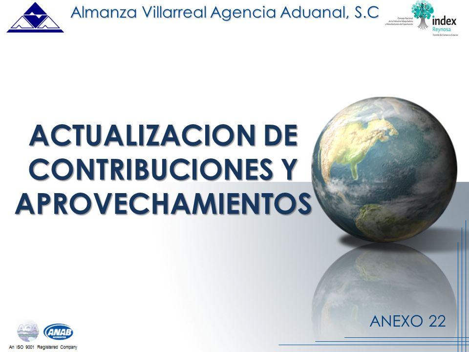 ANEXO 22 ACTUALIZACION DE CONTRIBUCIONES Y APROVECHAMIENTOS Almanza Villarreal Agencia Aduanal, S.C.