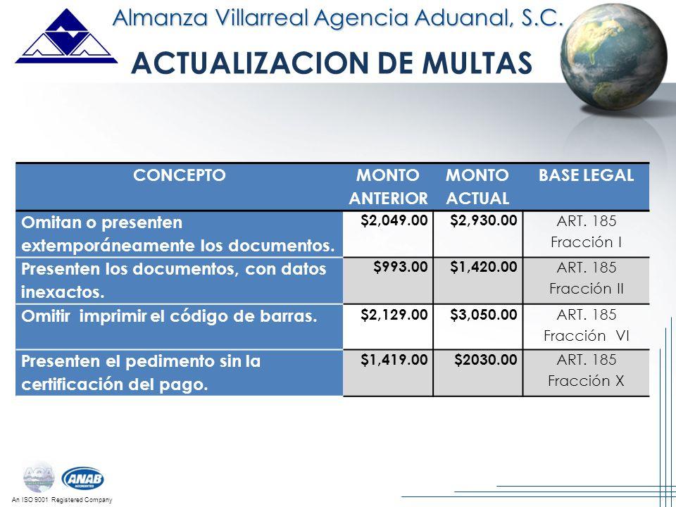 An ISO 9001 Registered Company Almanza Villarreal Agencia Aduanal, S.C. CONCEPTO MONTO ANTERIOR MONTO ACTUAL BASE LEGAL Omitan o presenten extemporáne