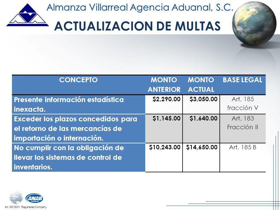 An ISO 9001 Registered Company Almanza Villarreal Agencia Aduanal, S.C. CONCEPTO MONTO ANTERIOR MONTO ACTUAL BASE LEGAL Presente información estadísti