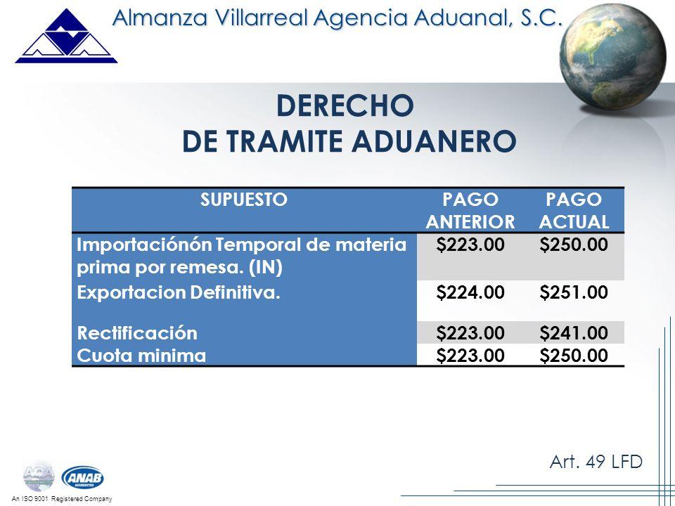An ISO 9001 Registered Company Almanza Villarreal Agencia Aduanal, S.C. DERECHO DE TRAMITE ADUANERO Art. 49 LFD SUPUESTOPAGO ANTERIOR PAGO ACTUAL Impo