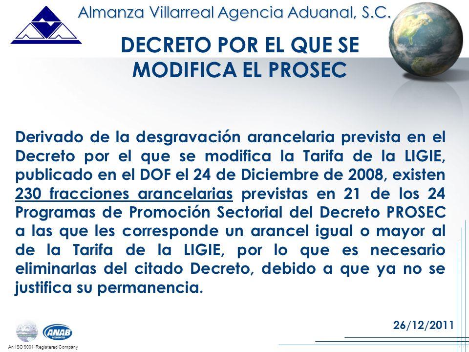 An ISO 9001 Registered Company Derivado de la desgravación arancelaria prevista en el Decreto por el que se modifica la Tarifa de la LIGIE, publicado