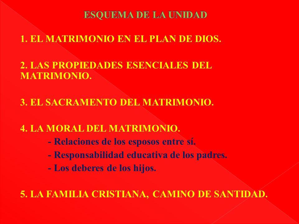 1. EL MATRIMONIO EN EL PLAN DE DIOS. 2. LAS PROPIEDADES ESENCIALES DEL MATRIMONIO. 3. EL SACRAMENTO DEL MATRIMONIO. 4. LA MORAL DEL MATRIMONIO. - Rela