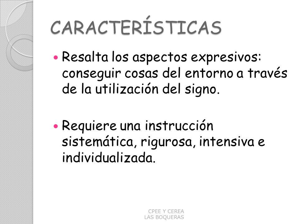 CARACTERÍSTICAS Resalta los aspectos expresivos: conseguir cosas del entorno a través de la utilización del signo. Requiere una instrucción sistemátic