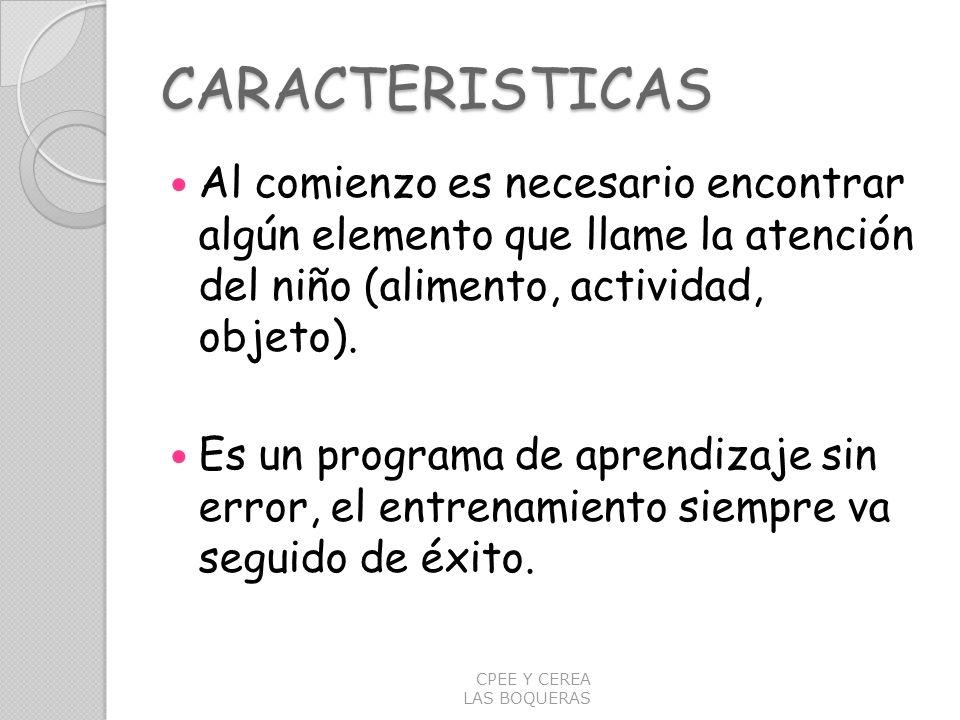 CARACTERISTICAS Al comienzo es necesario encontrar algún elemento que llame la atención del niño (alimento, actividad, objeto). Es un programa de apre