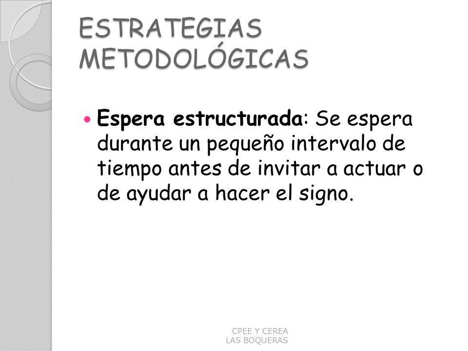 ESTRATEGIAS METODOLÓGICAS Espera estructurada: Se espera durante un pequeño intervalo de tiempo antes de invitar a actuar o de ayudar a hacer el signo