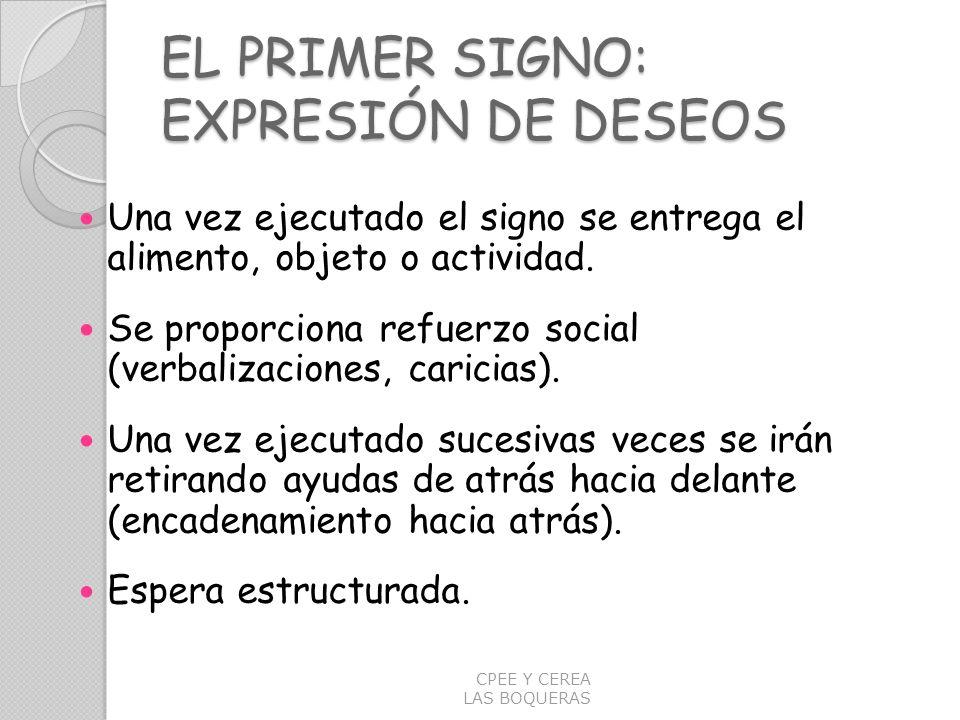 EL PRIMER SIGNO: EXPRESIÓN DE DESEOS Una vez ejecutado el signo se entrega el alimento, objeto o actividad. Se proporciona refuerzo social (verbalizac