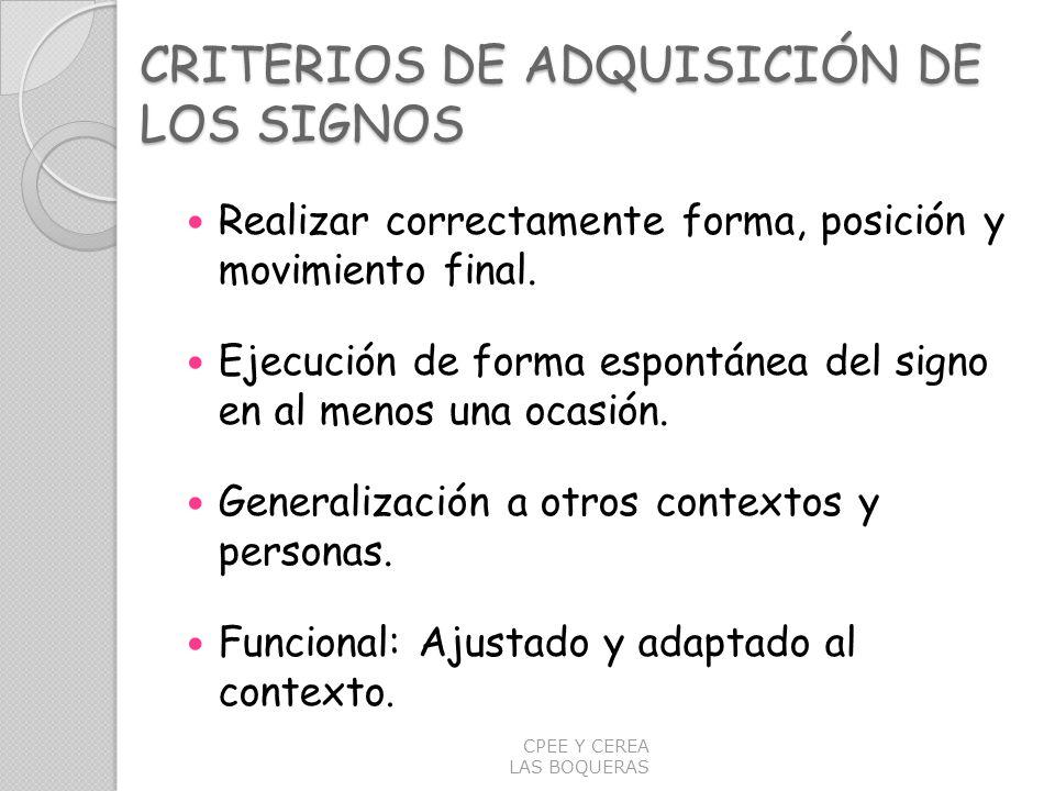 CRITERIOS DE ADQUISICIÓN DE LOS SIGNOS Realizar correctamente forma, posición y movimiento final. Ejecución de forma espontánea del signo en al menos