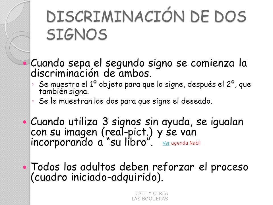 DISCRIMINACIÓN DE DOS SIGNOS Cuando sepa el segundo signo se comienza la discriminación de ambos. Se muestra el 1º objeto para que lo signe, después e