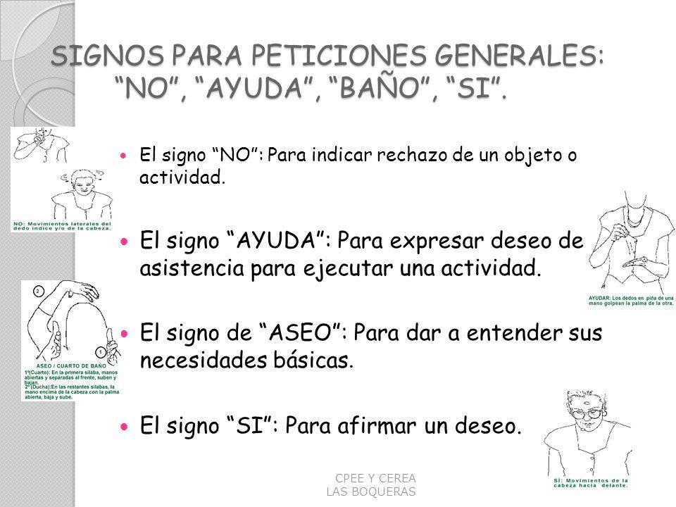 SIGNOS PARA PETICIONES GENERALES: NO, AYUDA, BAÑO, SI. El signo NO: Para indicar rechazo de un objeto o actividad. El signo AYUDA: Para expresar deseo