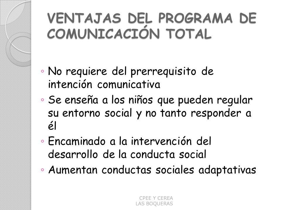 VENTAJAS DEL PROGRAMA DE COMUNICACIÓN TOTAL No requiere del prerrequisito de intención comunicativa Se enseña a los niños que pueden regular su entorn