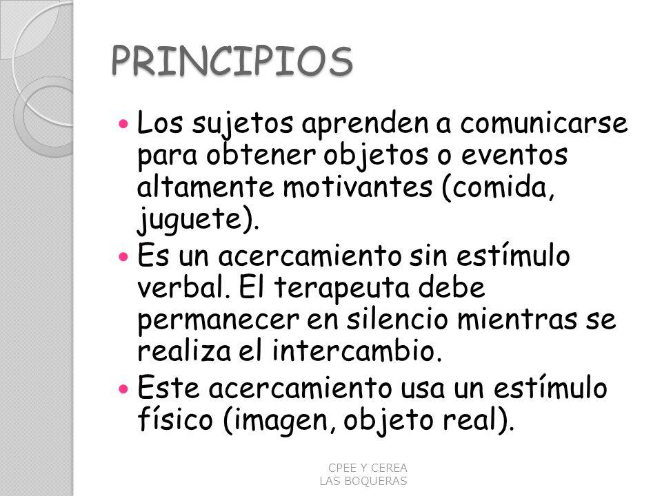 PRINCIPIOS Los sujetos aprenden a comunicarse para obtener objetos o eventos altamente motivantes (comida, juguete). Es un acercamiento sin estímulo v