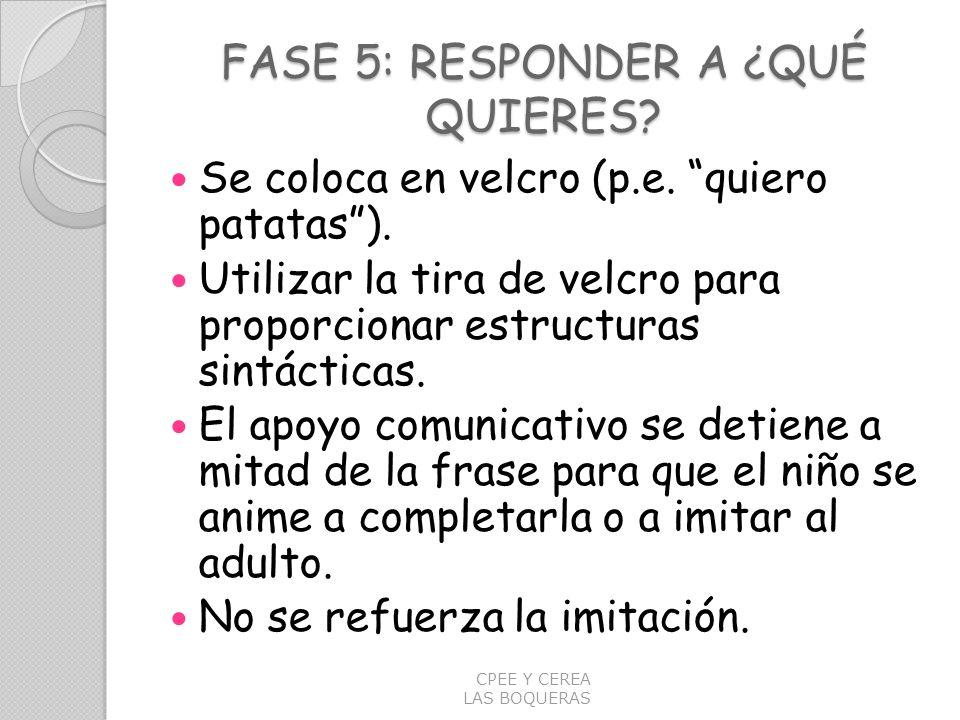 FASE 5: RESPONDER A ¿QUÉ QUIERES? Se coloca en velcro (p.e. quiero patatas). Utilizar la tira de velcro para proporcionar estructuras sintácticas. El