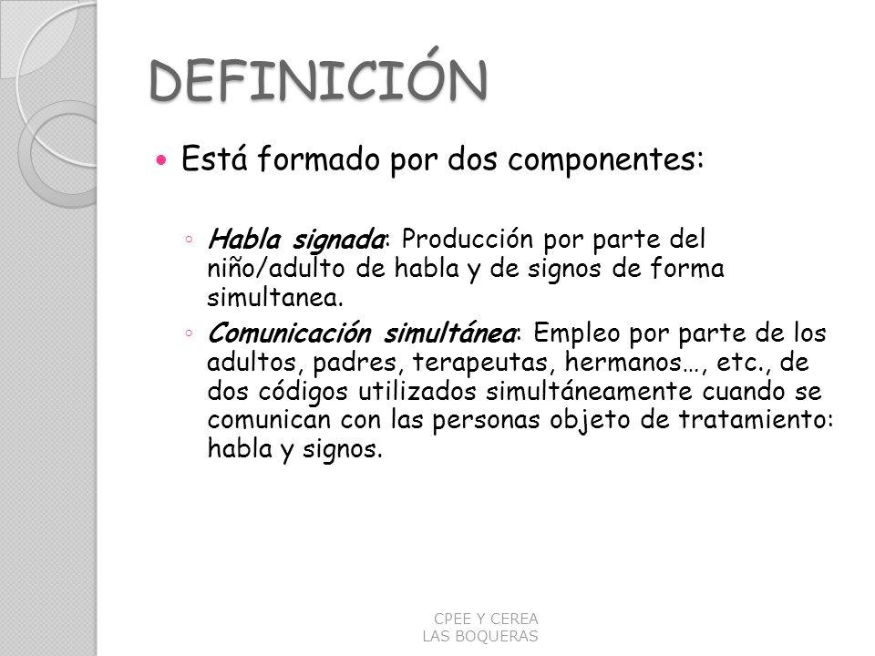 DEFINICIÓN Está formado por dos componentes: Habla signada: Producción por parte del niño/adulto de habla y de signos de forma simultanea. Comunicació